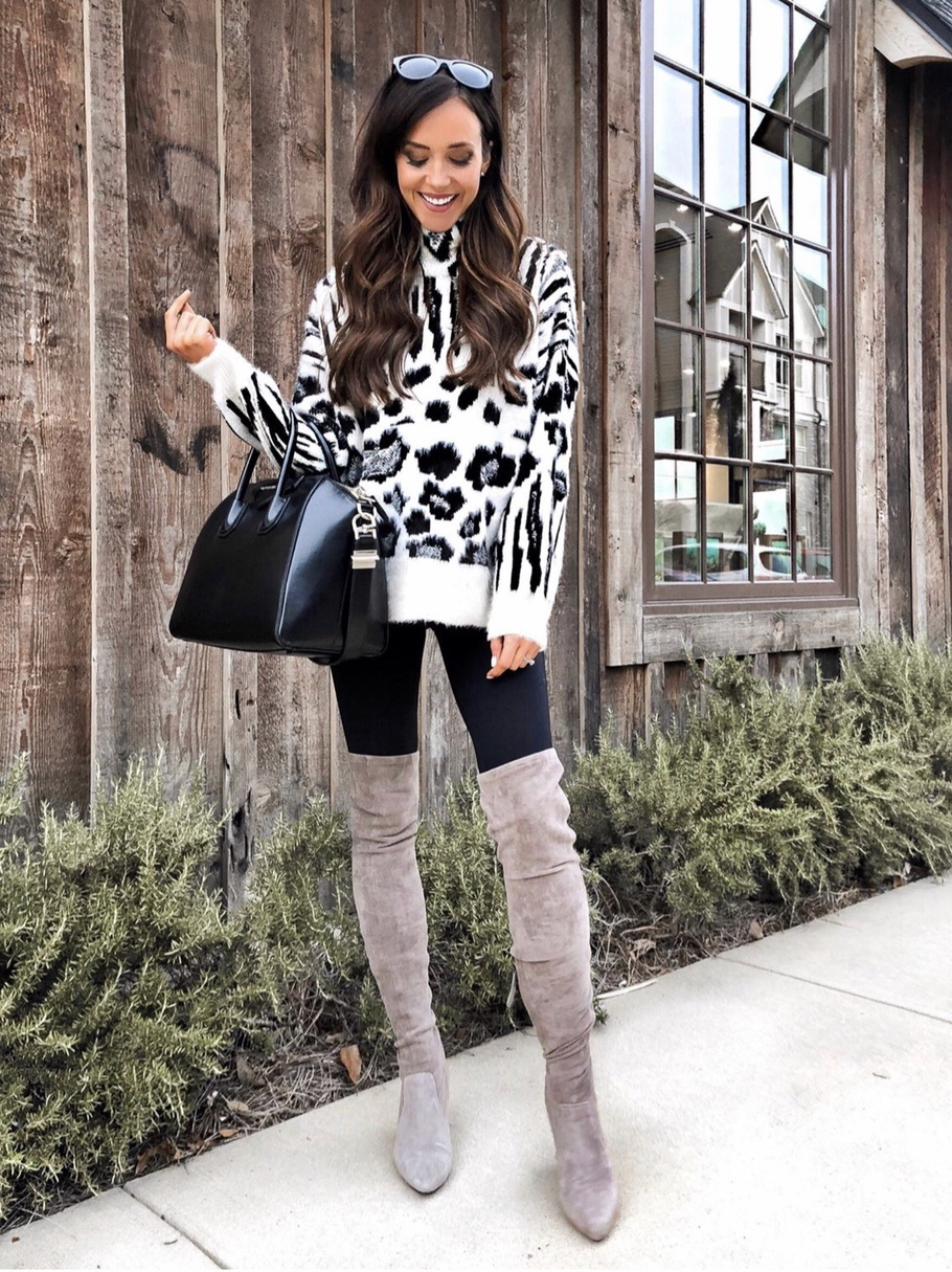 Casual fall look with taupe over the knee boots and animal print sweater