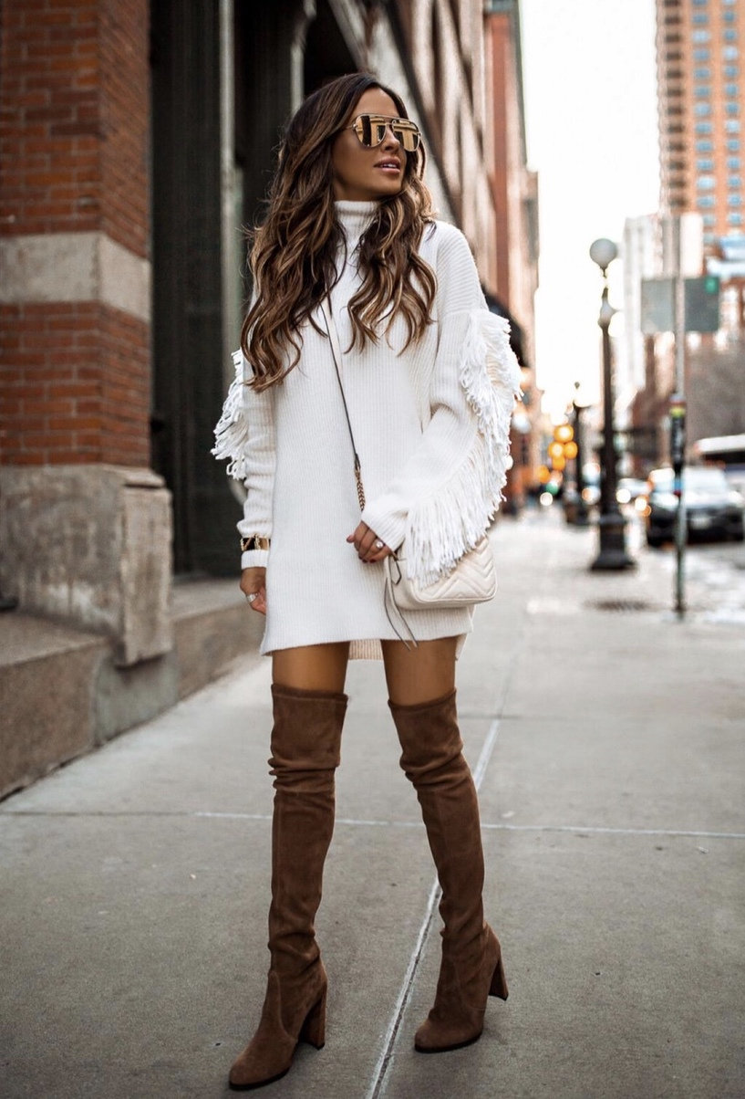 Chic and casual winter outfits with over the knee boots