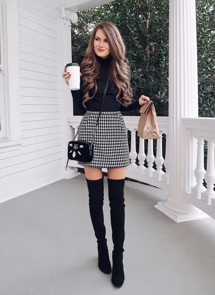 Casual black over the knee boots outfits with skirts in houndstooth pattern