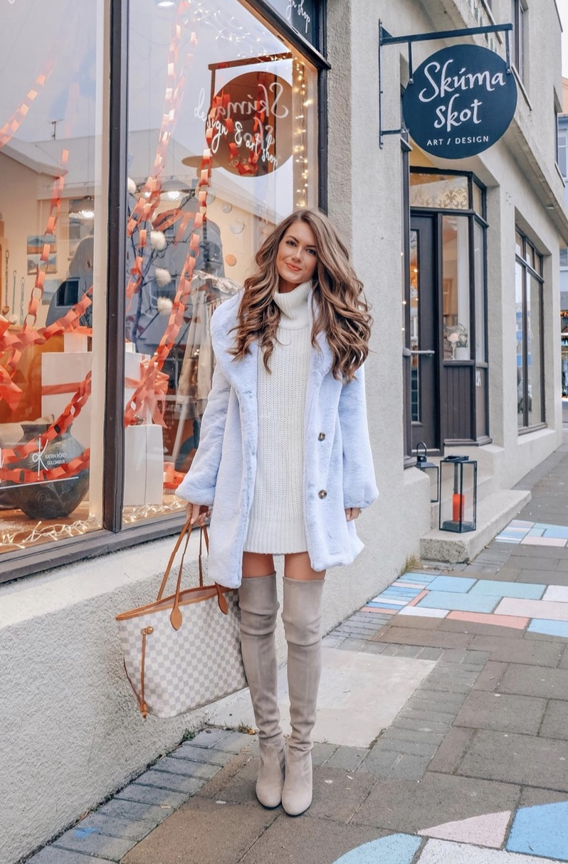 Casual winter outfits with taupe over the knee boots, Louis Vuitton Neverfull and blue teddy coat worn by CmCoving