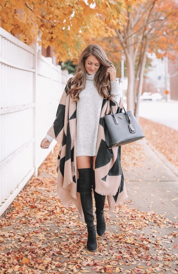 Casual winter outfits with black over the knee boots, grey sweater dress and wrap scarf
