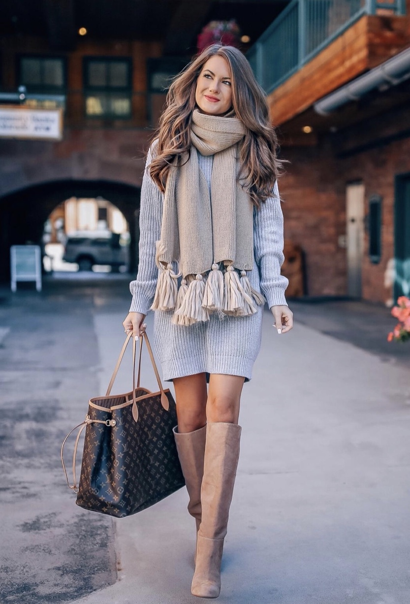 Casual winter outfits with scarf, knee high boots and grey long sleeve dress