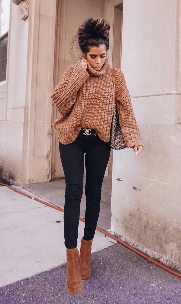 Cute fall outfits with black jeans and camel turtleneck sweater worn by Emily Ann Gemma
