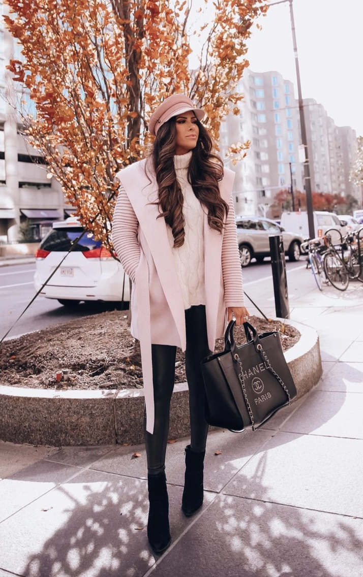 Chic winter outfits with white jacket, beige baker boy hat and black Chanel Deauville bag by Emily Ann Gemma