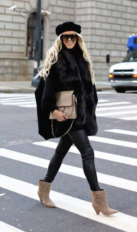Chic winter outfits with black faux fur coat with black beret, Chloe Faye bag and Celine sunglasses