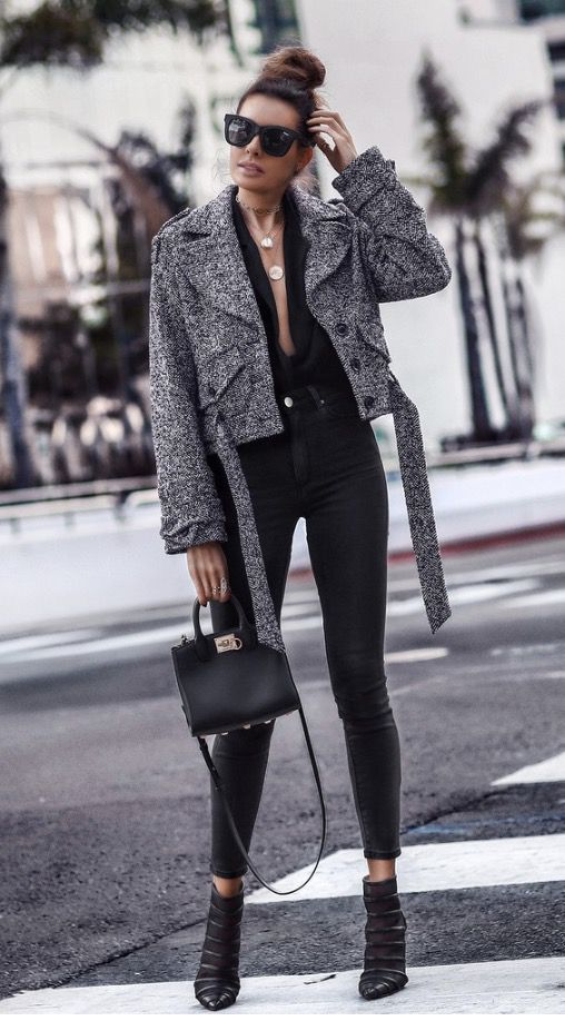 Chic winter outfits with black jeans worn by FashionedChicStyling.