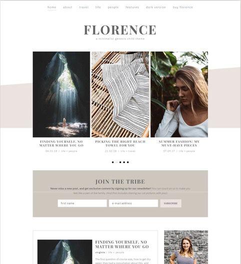Feminine WordPress themed by Code + Coconut