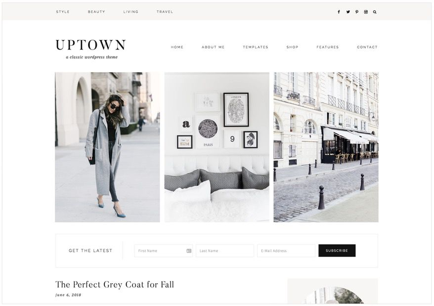 The best feminine WordPress themes for bloggers: Uptown by 17th Avenue