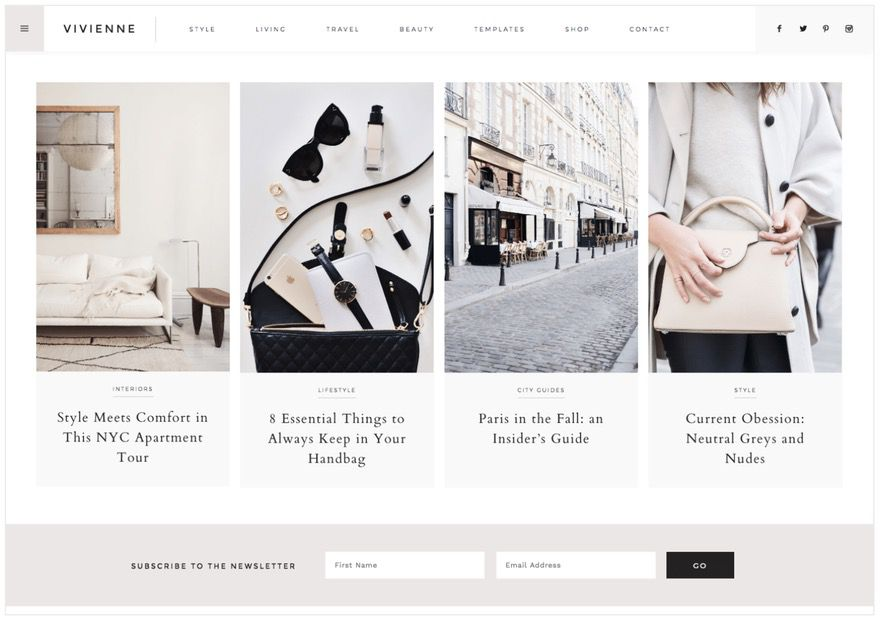 The best feminine WordPress themes for bloggers: Vivienne by 17th Avenue