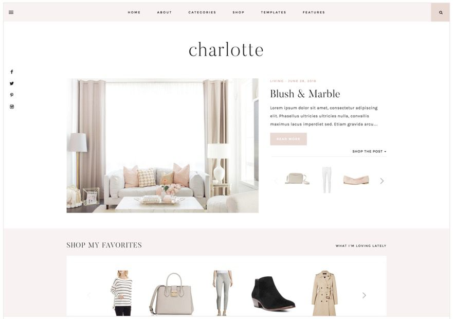 The best feminine WordPress themes for bloggers: Charlotte by 17th Avenue
