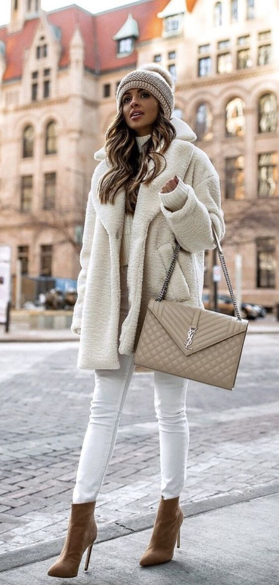 Chic casual outfits for winter - white teddy coat outfits with YSL bag and beanie