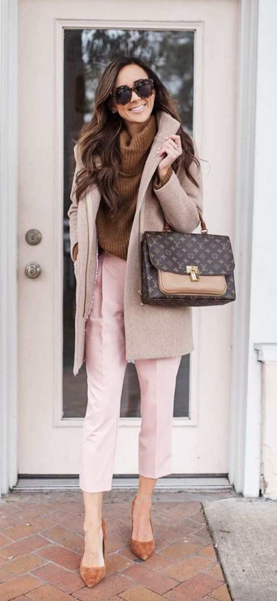 Chic casual outfits with Louis Vuitton Marignan, pink pants and brown sweater