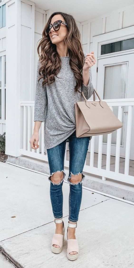 Casual outfits with jeans for everyday wear and grey shirt