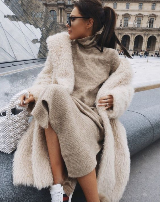Chic casual outfits for winter with teddy coat and Gucci ace sneakers