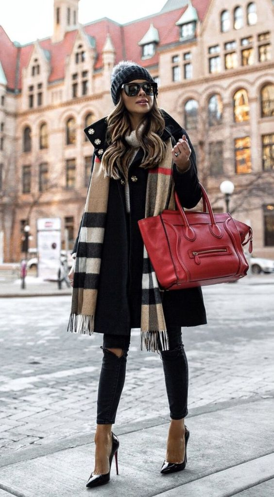 Chic outfits for winter with Burberry scarf and red Celine luggage tote