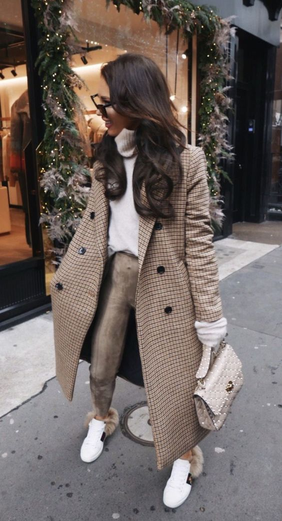 Chic casual outfits for winter with plaid coat, Valentino bag and Gucci ace sneakers