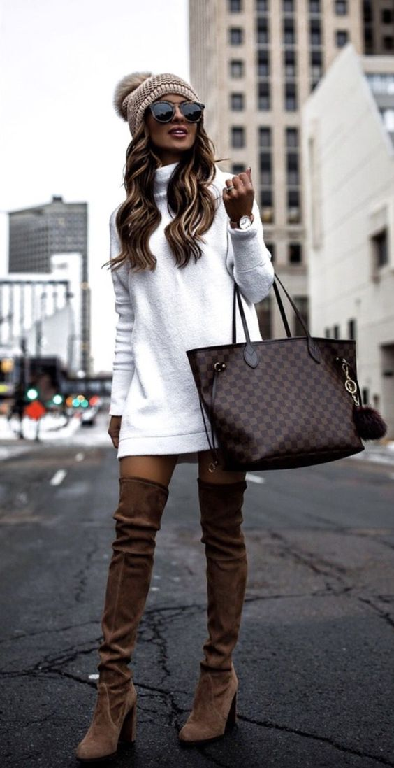 Chic casual outfits with over the knee boots, sweater dress, beanie and Louis Vuitton Neverfull