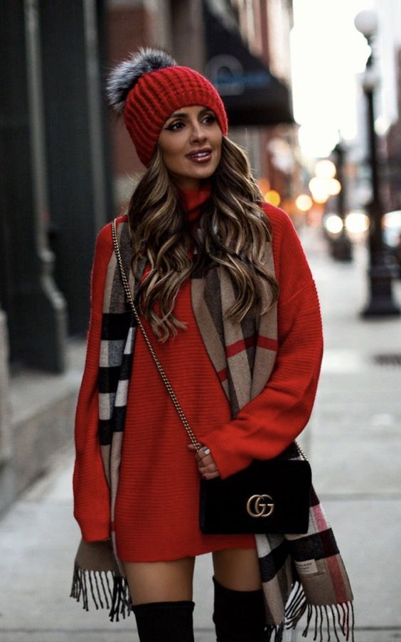Chic casual outfits with red dress, red beanie and Burberry scarf