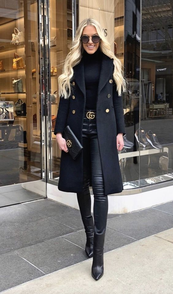 Chic casual outfits - all black outfits worn by Macy Stucke in a black coat, black jeans and black turlteneck plus black boots and Gucci belt