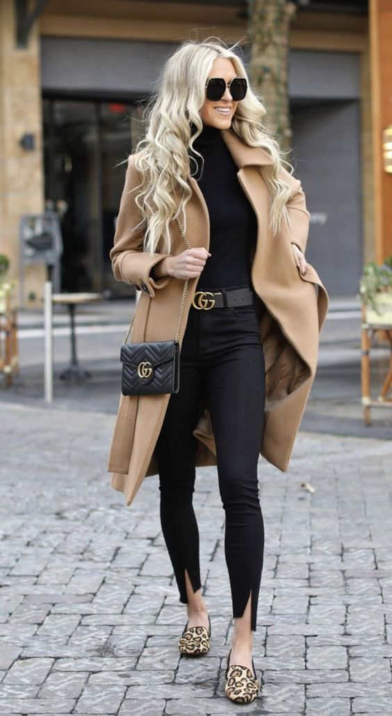 Chic casual outfits worn by Macy Stucke with camel coat and black jeans