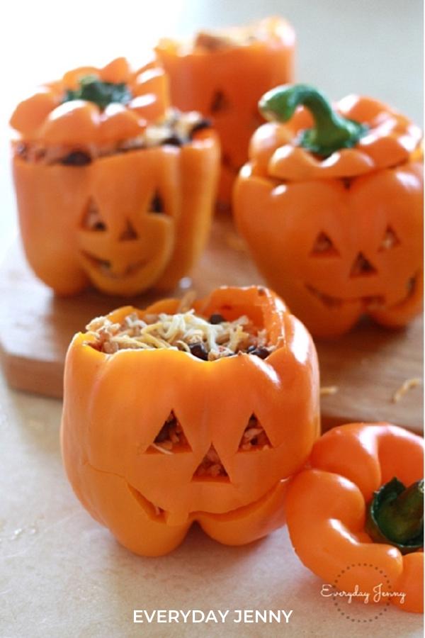 Fun Halloween Food Ideas: Jack O Lantern Peppers