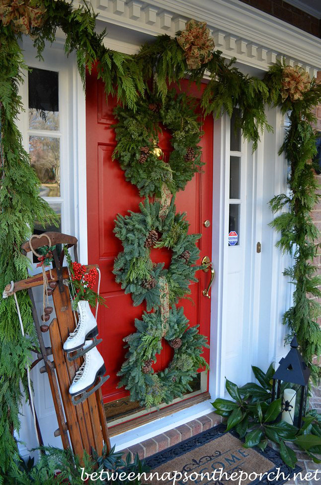 Rustic Christmas Porch With Wreaths