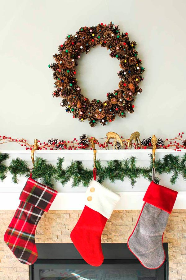 DIY Pom Pom Pinecone Wreath Christmas Craft For Adults