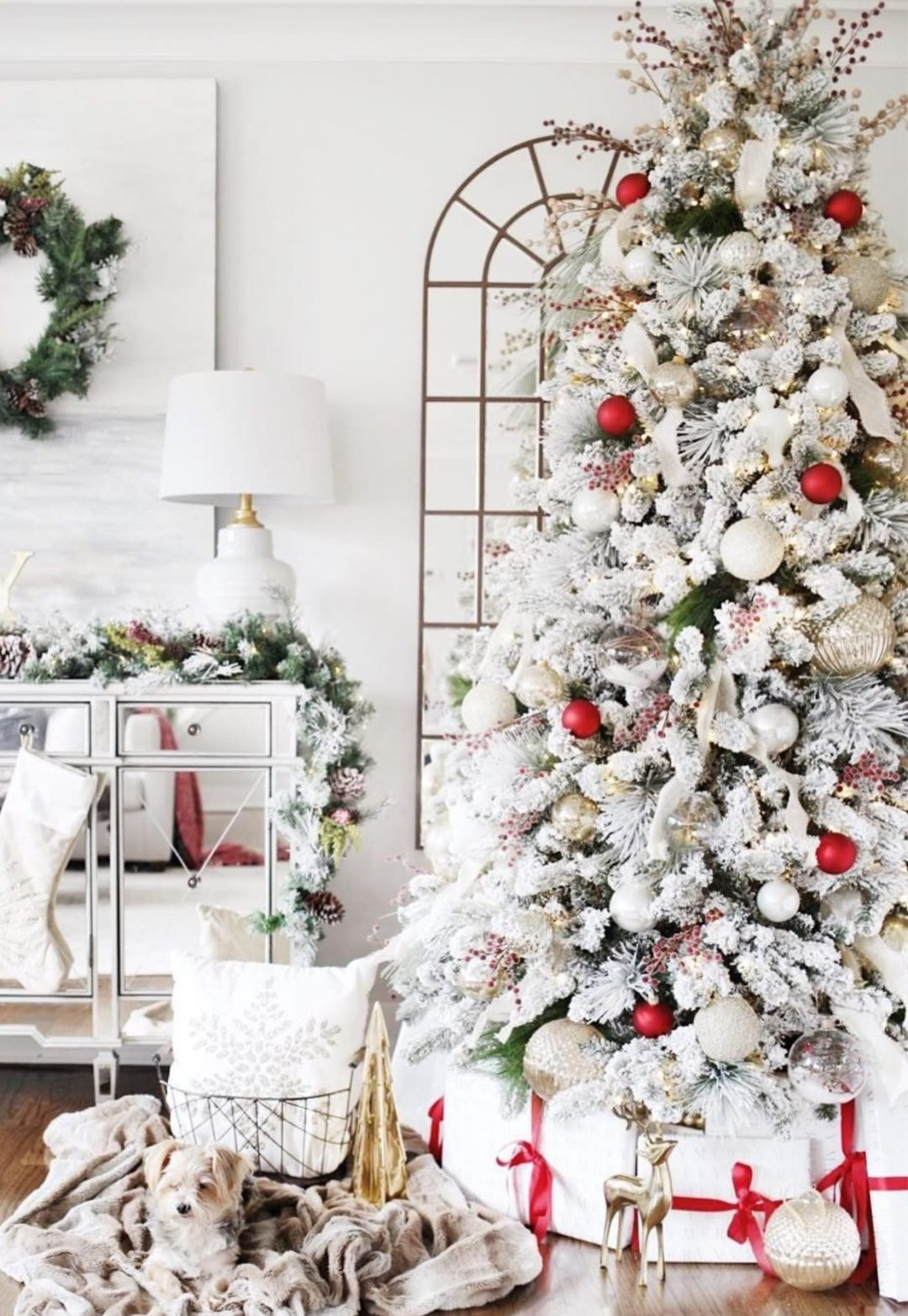 Red and white Christmas tree ideas