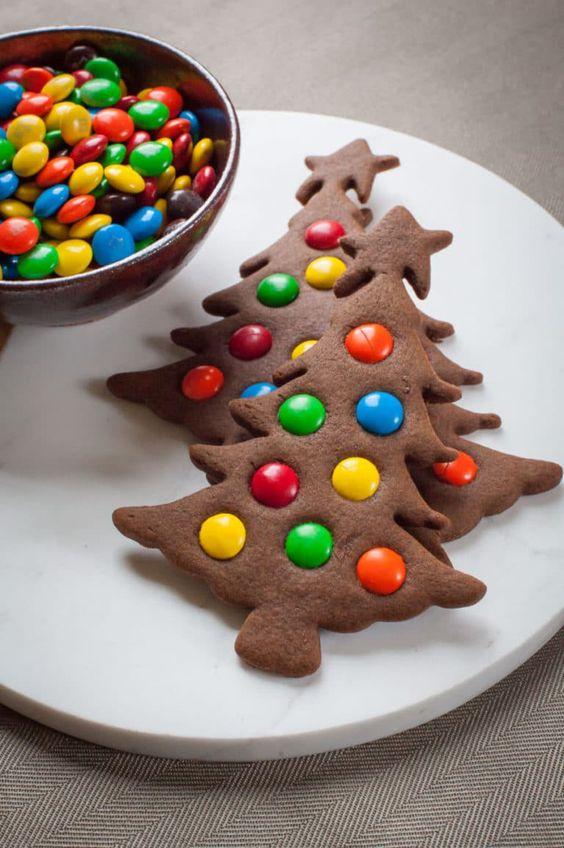 M&M Christmas Tree Cookies