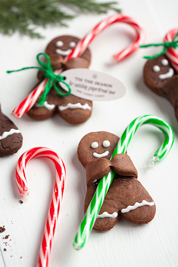 Cute Christmas Gingerbread Man Cookies With Candy Canes