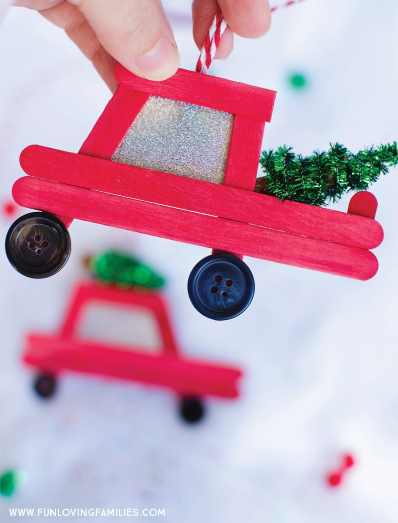 DIY Easy Popsicle Stick Car & Truck Christmas Ornaments