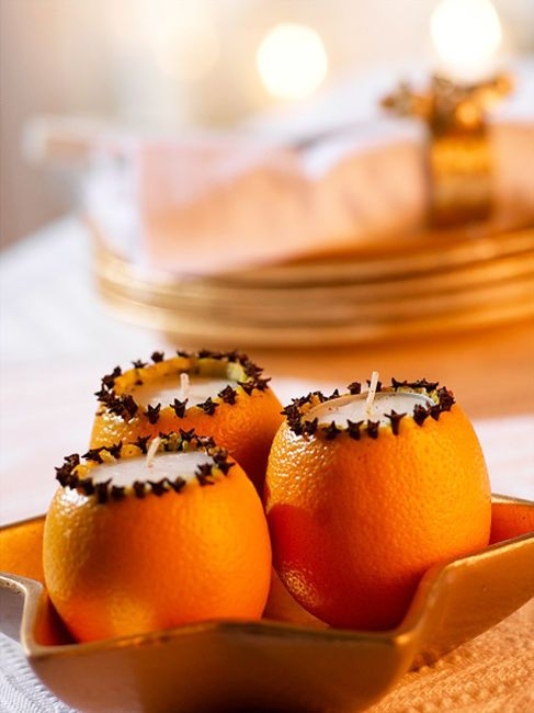 Easy DIY Christmas crafts for adults: Christmas Tea Lights With Cloves And Oranges