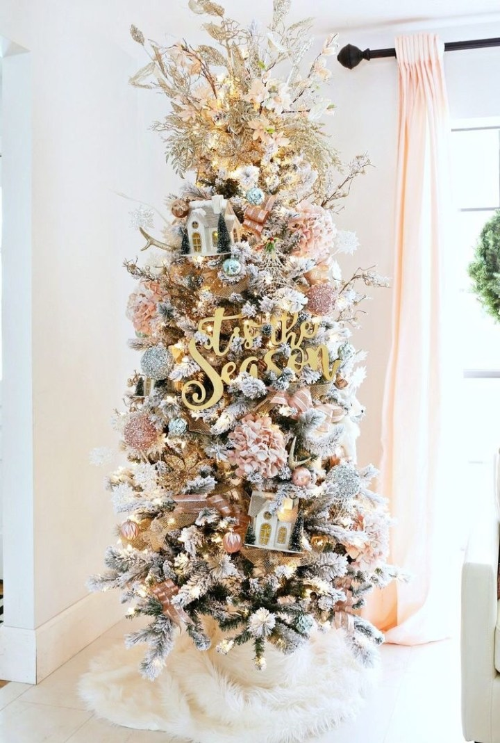 Pink Christmas tree decorations with gold