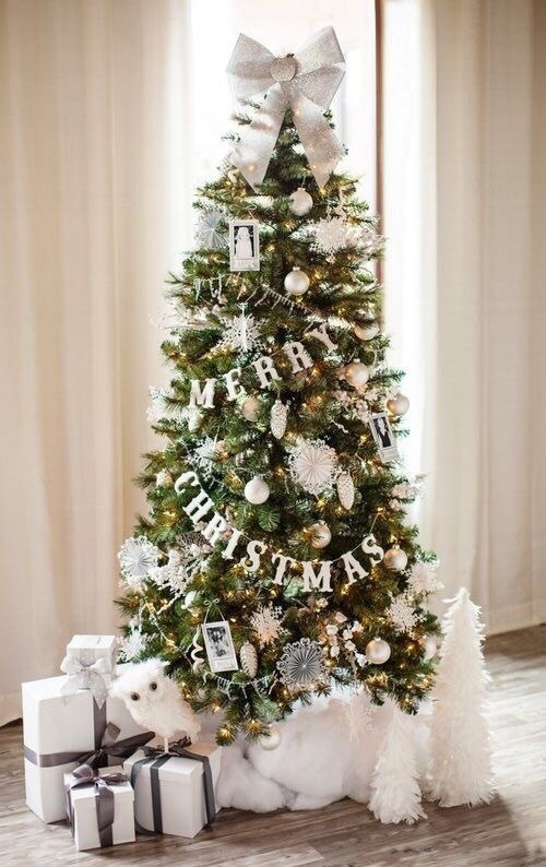 Simple green Christmas tree decorations with white