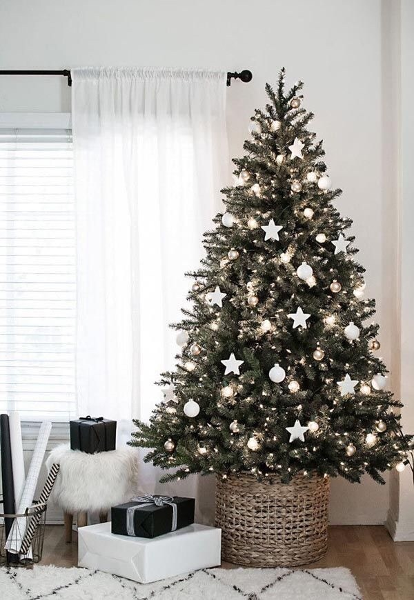 Simple Christmas tree decorations with stars