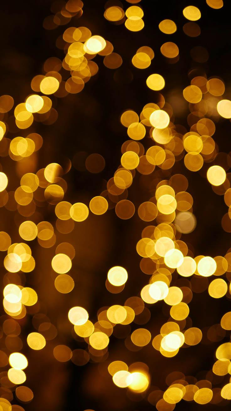 Yellow Christmas lights wallpaper aesthetic background