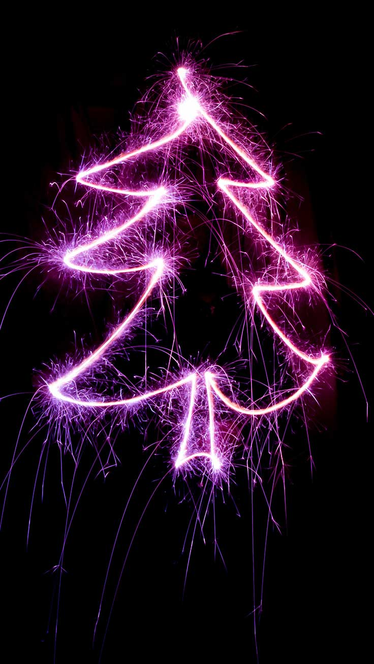 Purple Christmas sparkles wallpaper in the shape of a Christmas tree