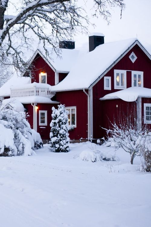 Red cabin with snow wallpaper - Scandinavian winter house