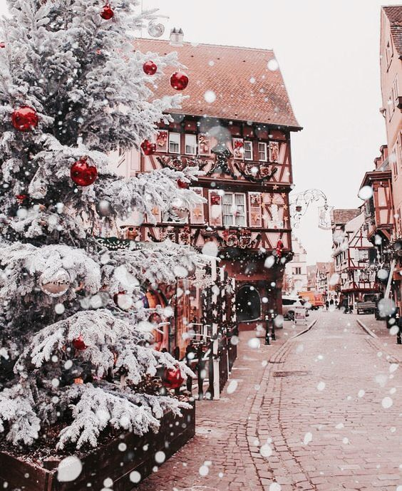 Christmas wallpaper aesthetic with white Christmas tree and snow