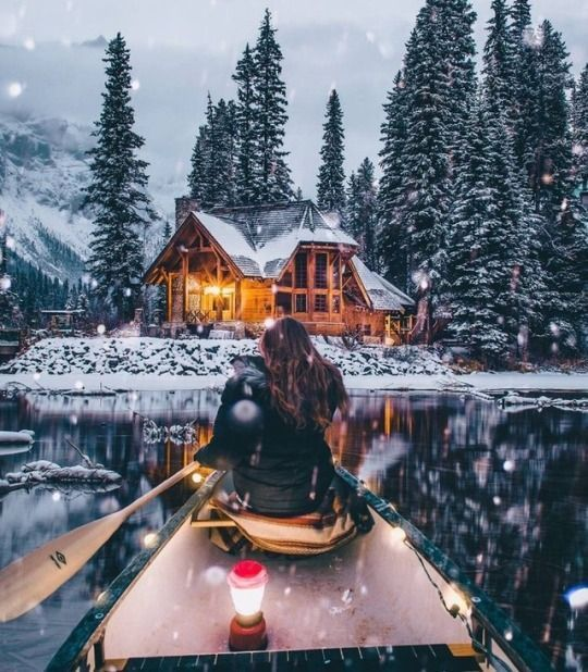Christmas wallpaper aesthetic with snow, lake and cabin