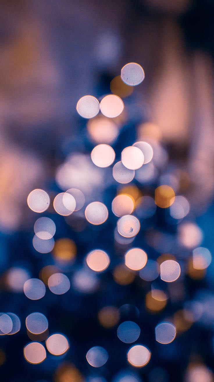 Blue Christmas tree lights wallpaper