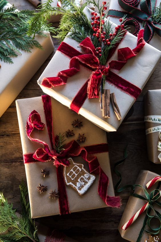 Red velvet ribbon and brown paper Christmas wrapping