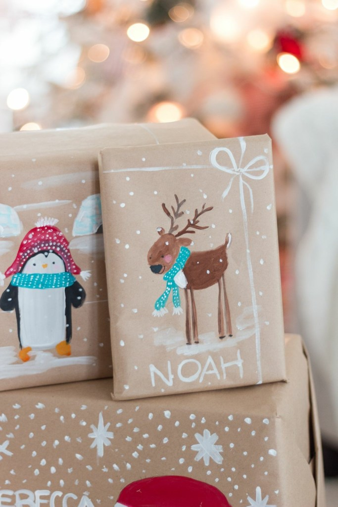 Hand painted brown paper wrapping idea