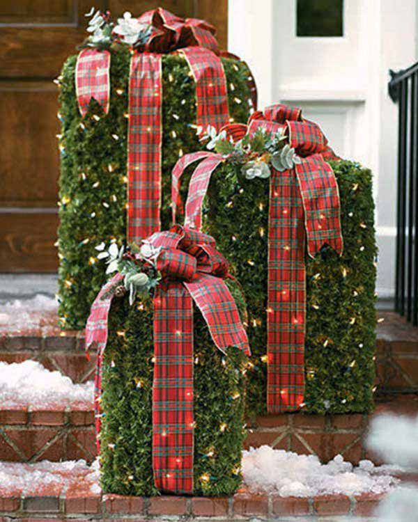 DIY Christmas Outdoor Decor With Rustic Gift Boxes And Red Ribbon