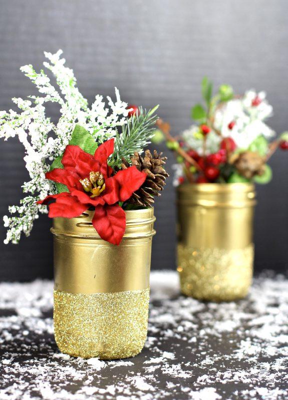 Gold mason jar flower holders