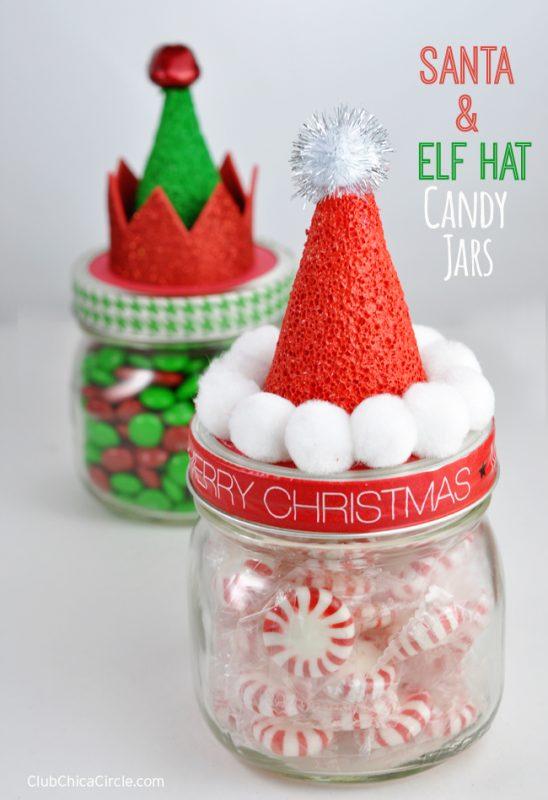 Santa hat candy jars