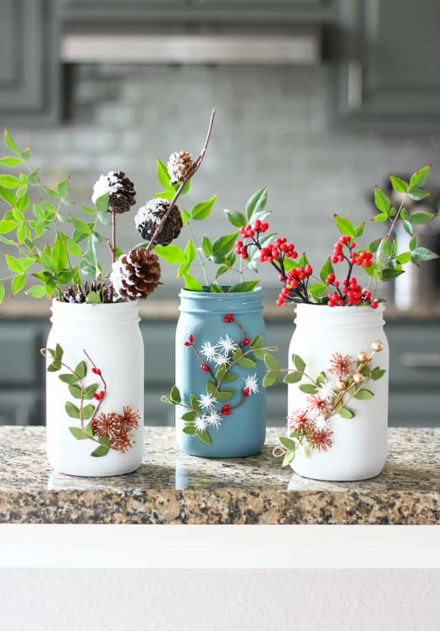 Winter mason jar vase craft