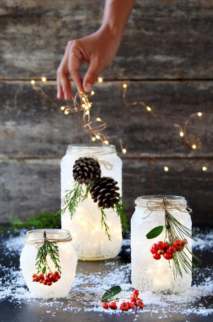 DIY Snow Frosted Mason Jar Decorations