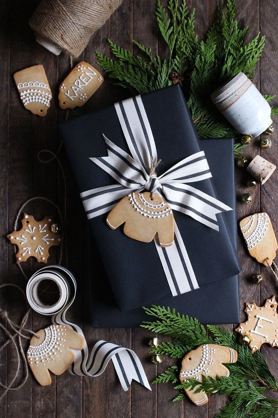 Creative Christmas gift wrapping ideas with gingerbread man tags
