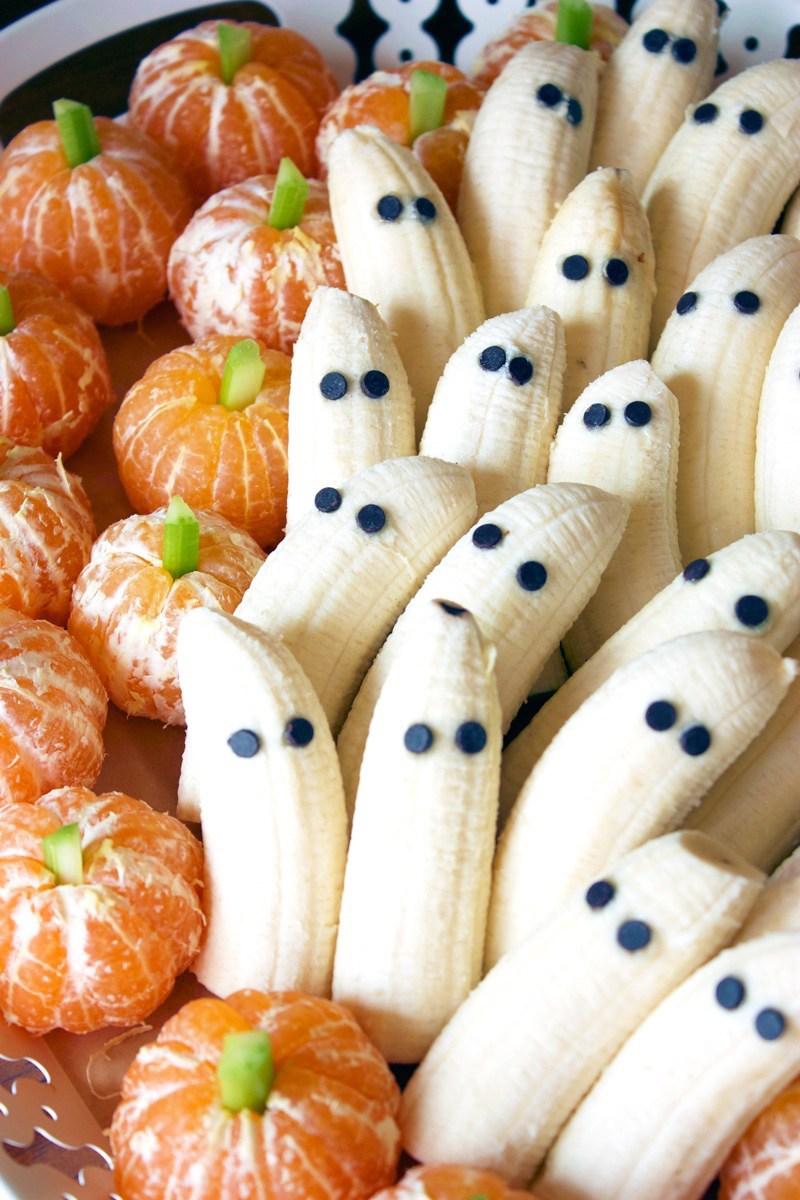 Fun Halloween Food Ideas For Kids: Tangerine Pumpkins and Banana Ghosts